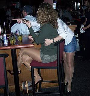 Couples wearing pantyhose